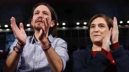 Pablo Iglesias and Ada Colau at a December 13 campaign rally at La Caja Mágica in Madrid.