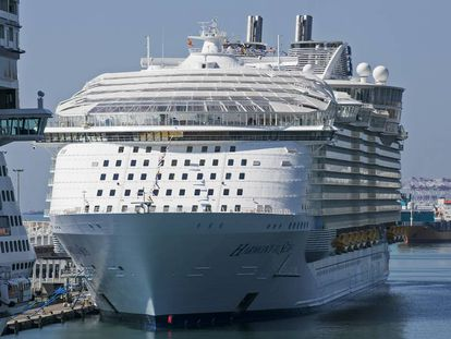 Controversial cruise liner 'Harmony of the Seas' anchored in Barcelona.