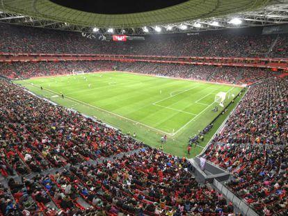 San Mamés stadium during the soccer match between Athletic and Atlético.