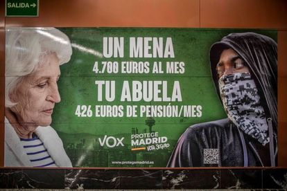 Vox's election billboard inside a train station in Madrid's underground system.