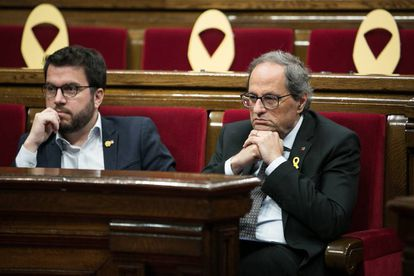 Catalan premier Quim Torra (r) and his deputy Pere Aragones.