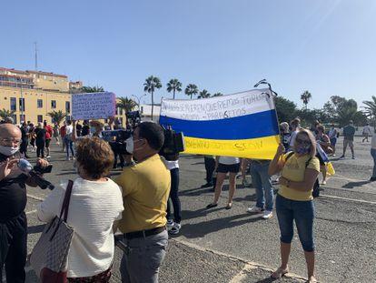 Protest against migrant arrivals in Arguineguín in Gran Canaria on October 31.