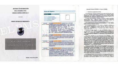 Civil Guard documents covering the investigation into Torshin in Spain.