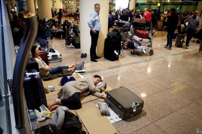 Hundreds of passengers were trapped in the airport.
