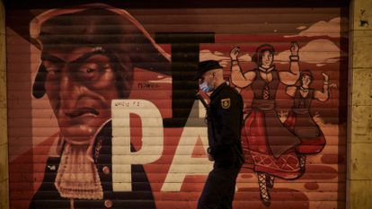 A police officer in Pamplona, Navarre, which again cancelled its world-famous Running of the Bulls festival this year due to the coronavirus pandemic.
