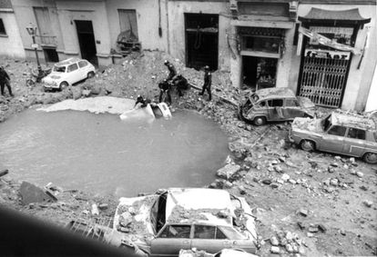 The crater left behind by the ETA bomb that killed Luis Carrero Blanco in 1973.