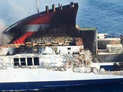 The burnt-out ferry, in a picture taken on Thursday by the Civil Guard.