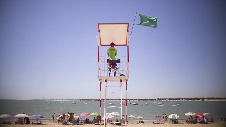 A lifeguard on duty in Sanlúcar de Barrameda, Cádiz.