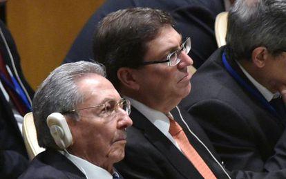 Cuban President Raúl Castro listens to President Obama's speech at the UN on Monday.