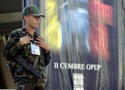 A soldier guarding the OPEC meeting at the Teresa Carreño Theater in Caracas in 2000.