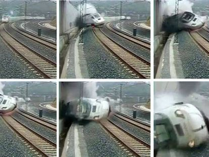 The high-speed train derailed and slammed against a wall.