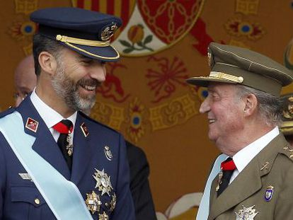 Prince Felipe and his father, King Juan Carlos, during a military parade.