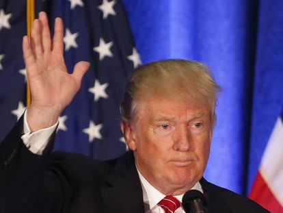 Republican Presidential candidate Donald Trump on Monday giving a speech in Ohio