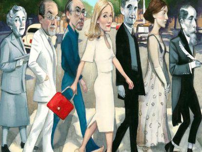 Left to right: Agatha Christie, Salman Rushdie, Ian McEwan, J.K. Rowling, George Orwell, Virginia Woolf and Charles Dickens.