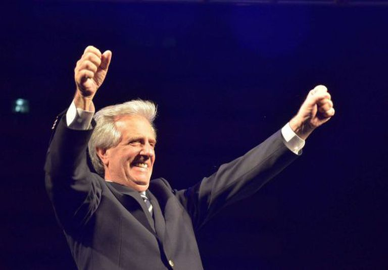 The winner of Uruguay's presidential elections, Tabaré Vázquez, celebrates on Sunday.