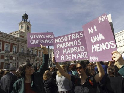 Women gather in central Madrid on Wednesday.