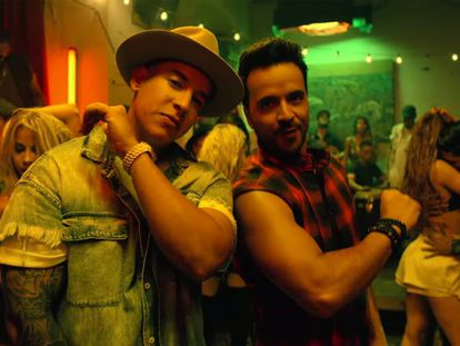 Daddy Yankee and Luis Fonsi in the 'Despacito' video.