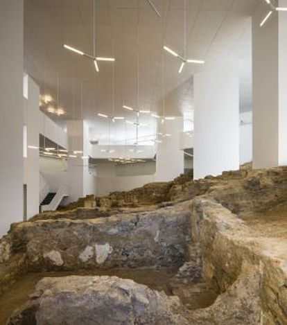 A view of the interior of Ceuta's new public library, where medieval city walls have been preserved.