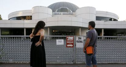 Filmgoers at the Madrid Imax theater.