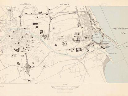 A British map of Valencia from 1942, kept at Princeton University.