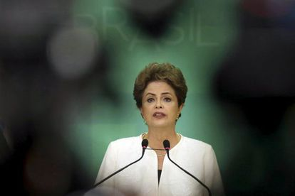 Dilma Rousseff gives a press conference on Wednesday.