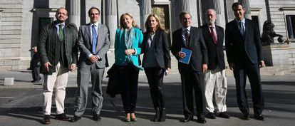 PP deputies who oppose abortion, posing in 2014 in front of Congress.