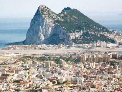 An aerial view of La Línea and Gibraltar.