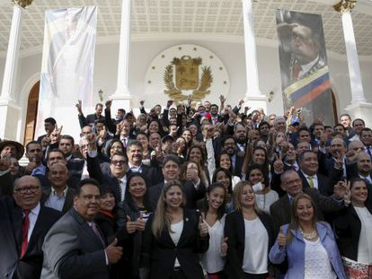 Opposition deputies in Venezuela on January 5.