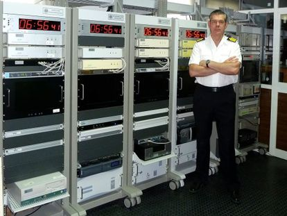 The Navy official Francisco Javier Galindo inside his laboratory.