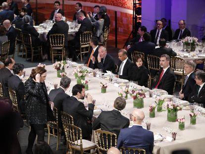 King Felipe VI at the dinner held ahead of MWC Barcelona.