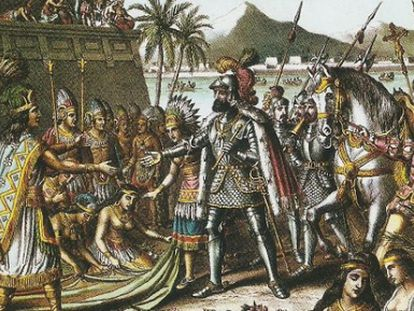 A drawing of Hernán Cortes entering Tenochtitlán.