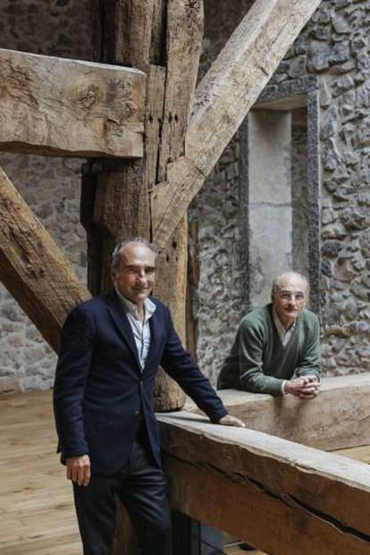Eduardo Chillida's sons, Luis (l) and Ignacio Chillida, in the 16th-century farmhouse Zabalaga that houses the smaller pieces from the Chillida collection.