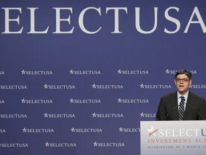 Treasury Secretary Jacob L. Lew at the conference on Tuesday.
