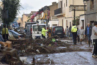 The center of Sant Llorenç des Cardassar after the rains.