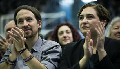 Podemos leader Pablo Iglesias and Barcelona Mayor Ada Colau in a file photo.