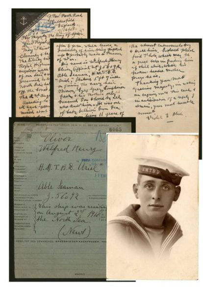 The file of Wilfred Henry Oliver, a sailor on the British destroyer 'Ariel.' AFter he went missing on August 2, 1918, his mother sent this photo together with a letter to King Alfonso XIII.
