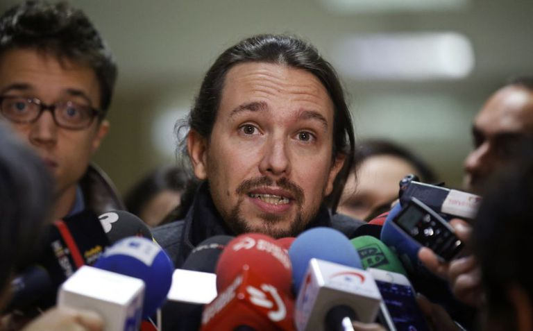 Podemos leader Pablo Iglesias talks to reporters in Madrid on Monday.