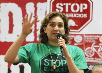 Barcelona Mayor Ada Colau in a file photo of the days when she headed the anti-eviction group PAH.