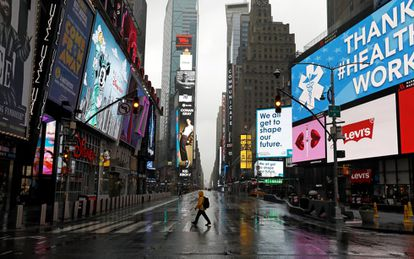 New York's Times Square looking deserted on Sunday.