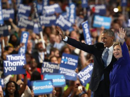 Barack Obama and Hillary Clinton work the crowd in Philadelphia.