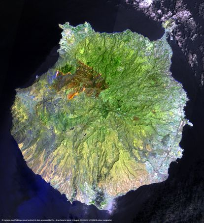 A satellite image of the burnt area on the island of Gran Canaria.