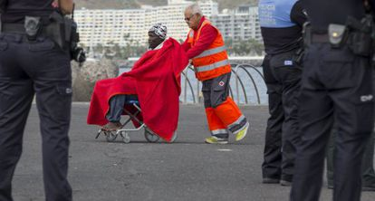 A migrant who reached the Canary Islands on Monday.