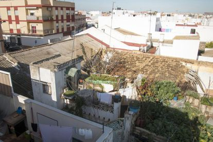 The view of the terrace where the man was locked up.