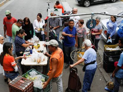 A fruit and vegetable market in Caracas.