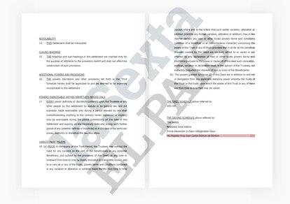Documento del Peregrine Trust a nombre de Juan Carlos I.