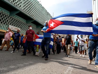 Hundreds of people protest against the Cuban government in Havana on Sunday.
