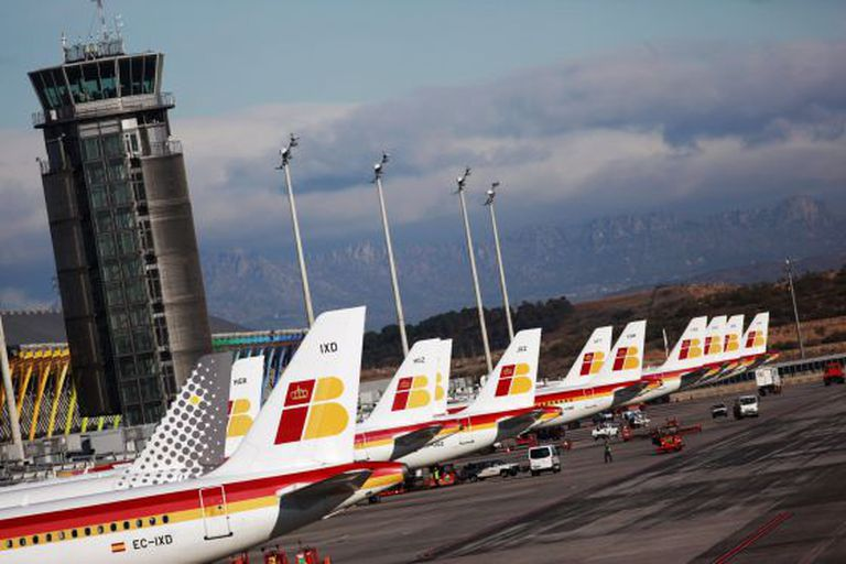 Iberia planes at Terminal 4 of Madrid-Barajas.