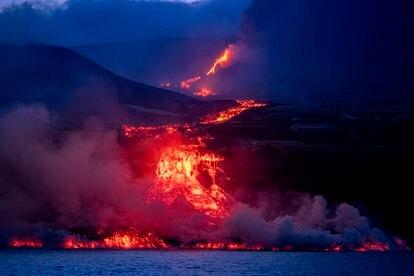 The lava as it began to reach the coast of La Palma.