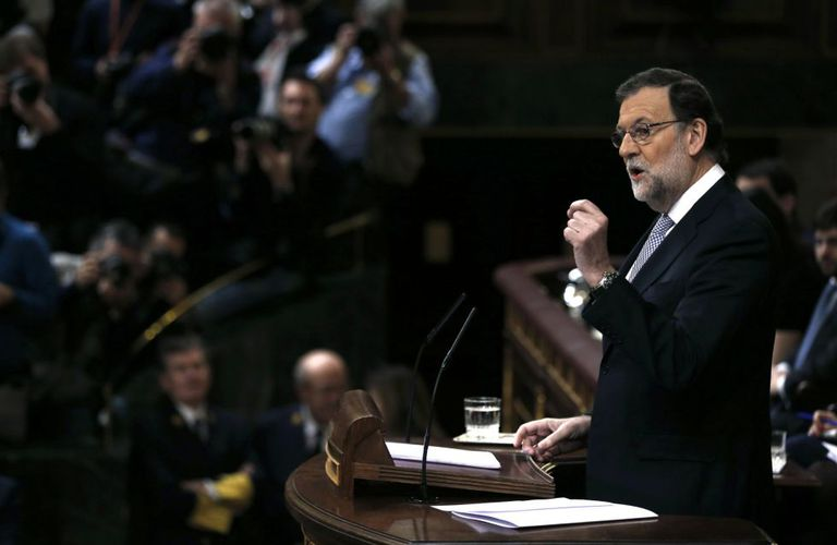 Acting Prime Minister Mariano Rajoy in Congress on Wednesday morning.