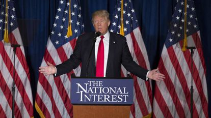 Donald Trump speaking on Wednesday evening.